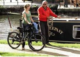 cycling on canal towpath