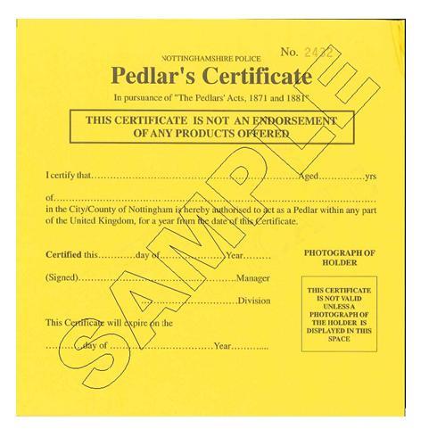 Notts pedlars certificate