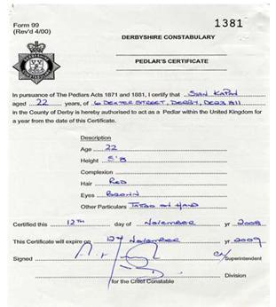 Derbyshire pedlar certificate